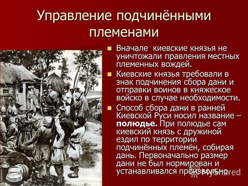 Управление подчинёнными племенами Вначале киевские князья не уничтожали правления местных племенных вождей. Вначале киевские князья не уничтожали правления местных племенных вождей. Киевские князья требовали в знак подчинения сбора дани и отправки во