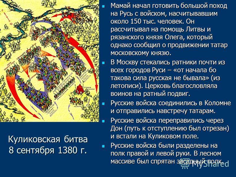 Куликовская битва 8 сентября 1380 г. Мамай начал готовить большой поход на Русь с войском, насчитывавшим около 150 тыс. человек. Он рассчитывал на помощь Литвы и рязанского князя Олега, который однако сообщил о продвижении татар московскому князю. Ма