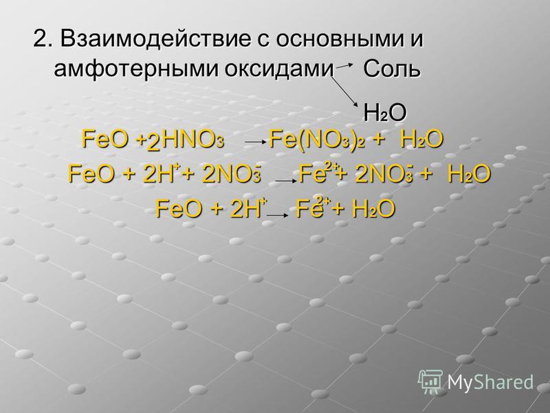 2. Взаимодействие с основными и амфотерными оксидами FeO + НNO 3 Fe(NO 3 ) 2 + Н 2 О FeO + НNO 3 Fe(NO 3 ) 2 + Н 2 О FeO + 2Н + 2NO 3 Fe + 2NO 3 + Н 2 О FeO + 2Н + 2NO 3 Fe + 2NO 3 + Н 2 О FeO + 2Н Fe + Н 2 О Соль Н 2 О 2 + - 2+ - +2+