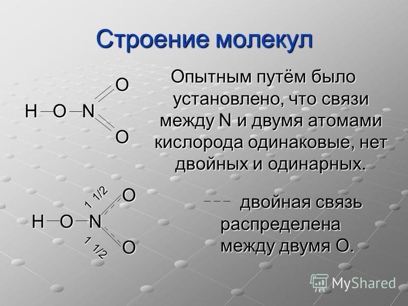 Строении молекул O H O N O Опытным путём было установлено, что связи между N и двумя атомами кислорода одинаковые, нет двойных и одинарных. O H O N O двойная связь распределена между двумя О. двойная связь распределена между двумя О. 1 1/2