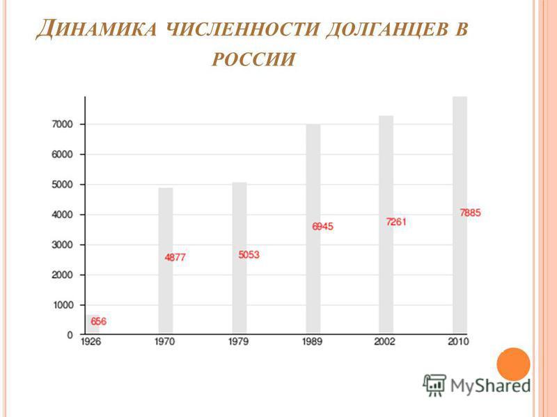 Д ИНАМИКА ЧИСЛЕННОСТИ ДОЛГАНЦЕВ В РОССИИ