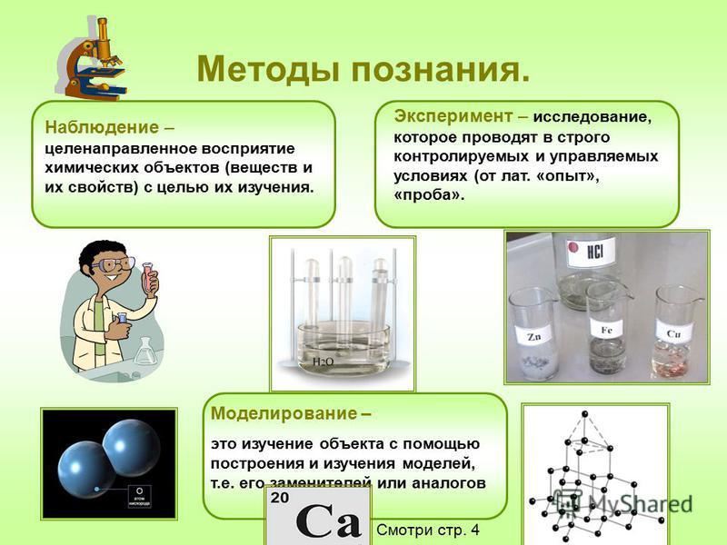 Методы познания. Наблюдение – целенаправленное восприятие химических объектов (веществ и их свойств) с целью их изучения. Эксперимент – исследование, которое проводят в строго контролируемых и управляемых условиях (от лат. «опыт», «проба». Моделирова