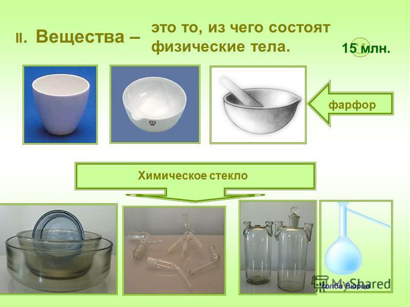 II. Вещества – фарфор Химическое стекло это то, из чего состоят физические тела. 15 млн.