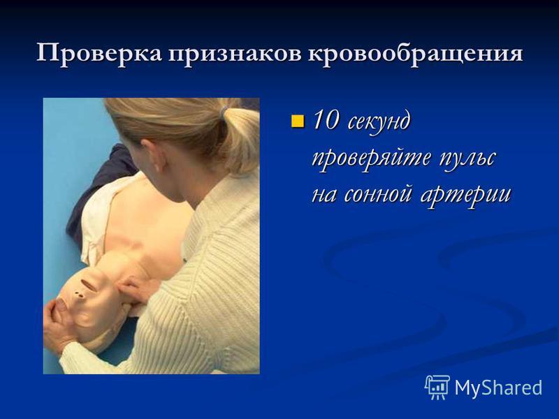 Проверка признаков кровообращения 10 секунд проверяйте пульс на сонной артерии