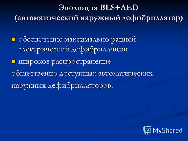 Эволюция BLS+AED (автоматический наружный дефибриллятор) обеспечение максимально ранней электрической дефибрилляции. обеспечение максимально ранней электрической дефибрилляции. широкое распространение широкое распространение общественно доступных авт