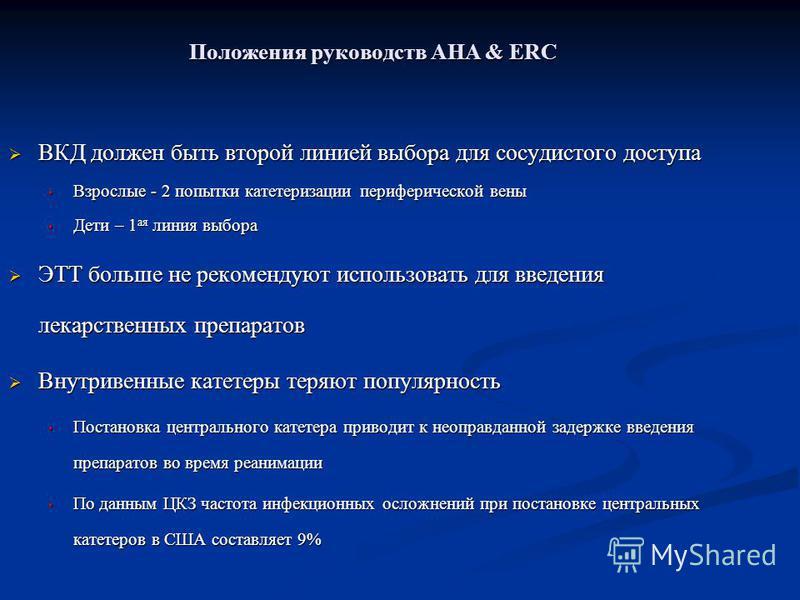 Положения руководств AHA & ERC ВКД должен быть второй линией выбора для сосудистого доступа ВКД должен быть второй линией выбора для сосудистого доступа Взрослые - 2 попытки катетеризации периферической вены Взрослые - 2 попытки катетеризации перифер
