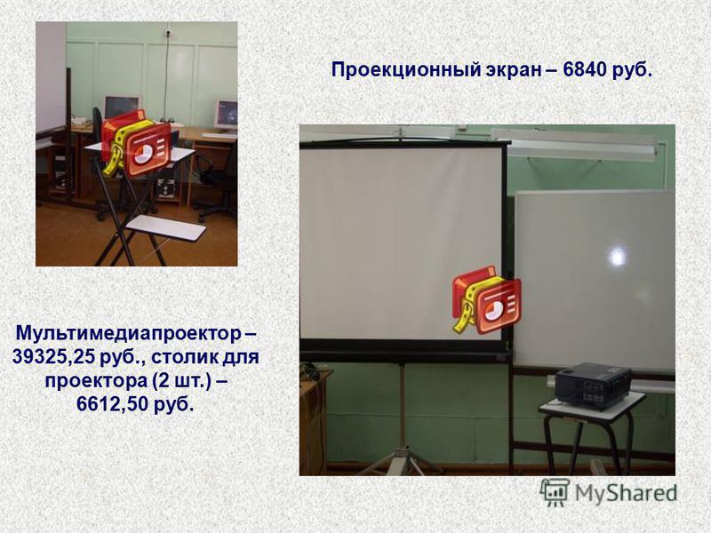 Мультимедиапроектор – 39325,25 руб., столик для проектора (2 шт.) – 6612,50 руб. Проекционный экран – 6840 руб.