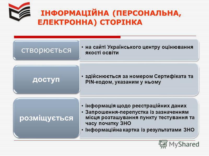 ІНФОРМАЦІЙНА (ПЕРСОНАЛЬНА, ЕЛЕКТРОННА) СТОРІНКА ІНФОРМАЦІЙНА (ПЕРСОНАЛЬНА, ЕЛЕКТРОННА) СТОРІНКА на сайті Українського центру оцінювання якості освіти створюється здійснюється за номером Сертифіката та PIN-кодом, указаним у ньому доступ інформація щод