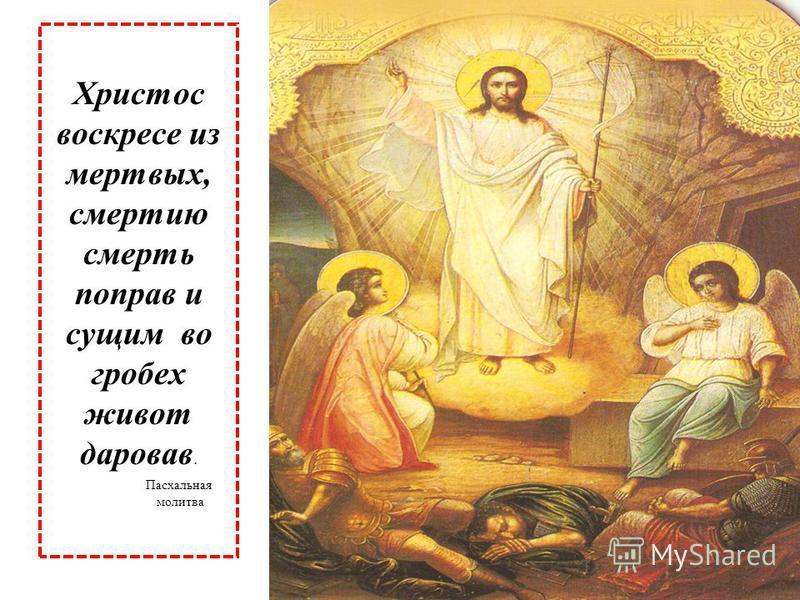 Христос воскресе из мертвых, смертию смерть поправ и сущим во гробех живот даровав. Пасхальная молитва