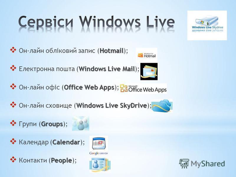 Hotmail Он-лайн обліковий запис (Hotmail); Windows Live Mail Електронна пошта (Windows Live Mail); Office Web Apps Он-лайн офіс (Office Web Apps); Windows Live SkyDrive Он-лайн сховище (Windows Live SkyDrive); Groups Групи (Groups); Calendar Календар