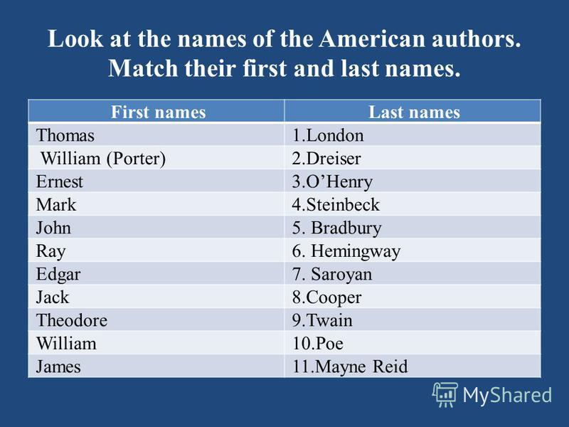 Look at the names of the American authors. Match their first and last names. First namesLast names Thomas1.London William (Porter)2.Dreiser Ernest3.OHenry Mark4.Steinbeck John5. Bradbury Ray6. Hemingway Edgar7. Saroyan Jack8.Cooper Theodore9.Twain Wi