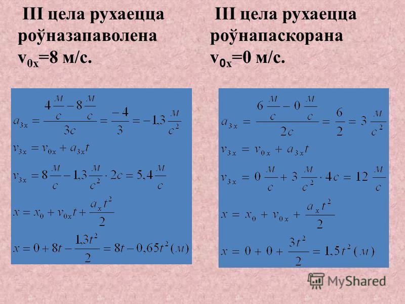 II цела рухаецца роўнапаскорана з пачатковай скорасцю v 0x =4 м/с II цела рухаецца роўнапаскорана з пачатковай скорасцю v 0x =6 м/с