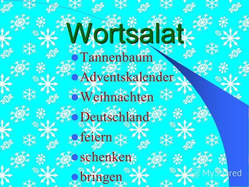 Wortsalat Tannenbaum Adventskalender Weihnachten Deutschland feiern schenken bringen