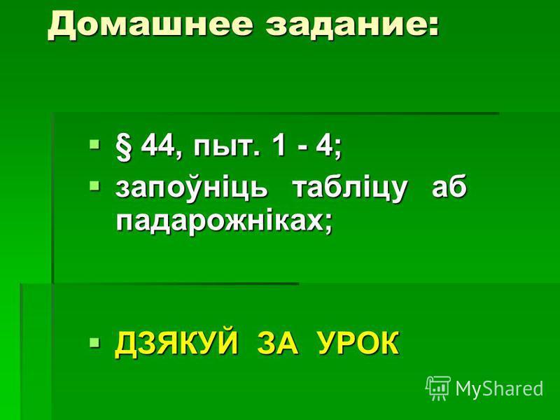 Домашнее задание: § 44, пыт. 1 - 4; § 44, пыт. 1 - 4; запоўніць табліцу аб падарожніках; запоўніць табліцу аб падарожніках; ДЗЯКУЙ ЗА УРОК ДЗЯКУЙ ЗА УРОК