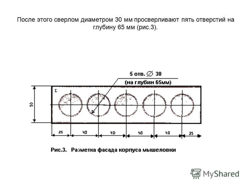 После этого сверлом диаметром 30 мм просверливают пять отверстий на глубину 65 мм (рис.3).