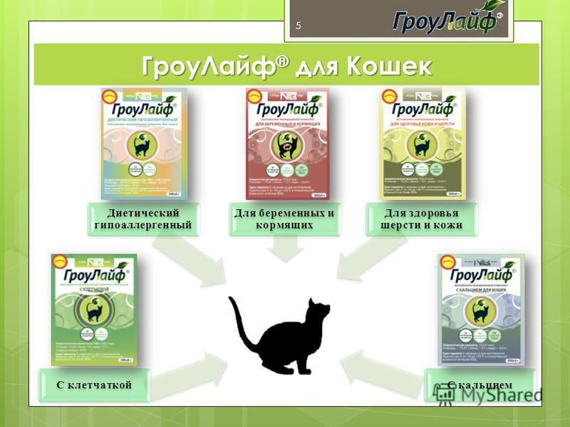 С клетчаткой Диетический гипоаллергенный Для беременных и кормящих Для здоровья шерсти и кожи С кальцием 5 Гроу Лайф ® для Кошек