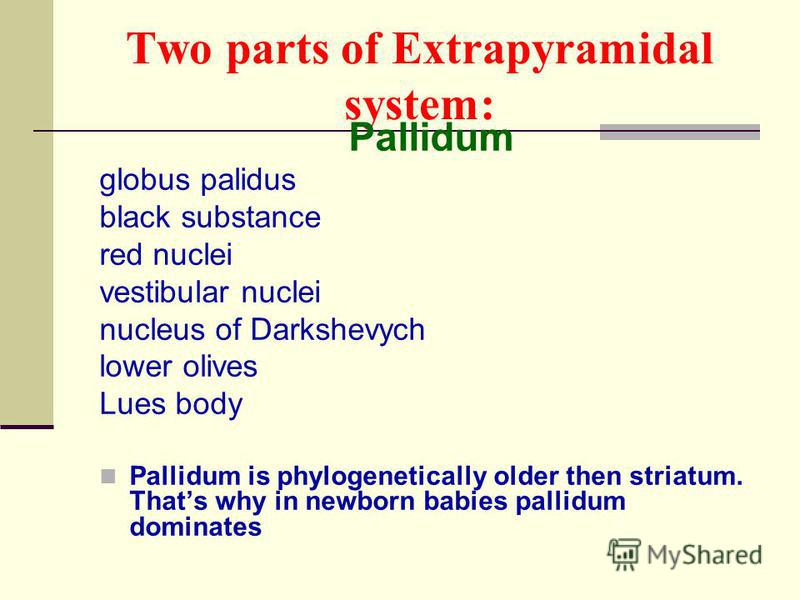 Two parts of Extrapyramidal system: Pallidum globus palidus black substance red nuclei vestibular nuclei nucleus of Darkshevych lower olives Lues body Pallidum is phylogenetically older then striatum. Thats why in newborn babies pallidum dominates