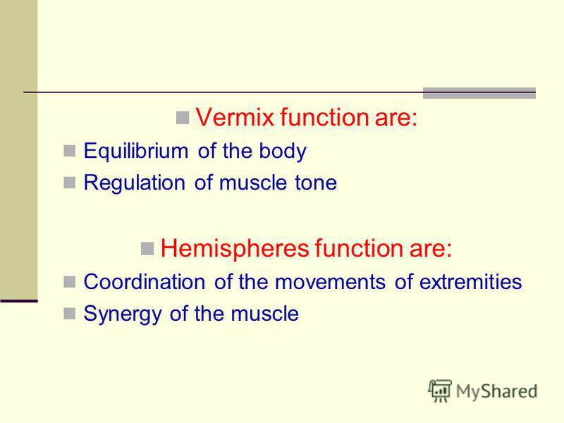 Vermix function are: Equilibrium of the body Regulation of muscle tone Hemispheres function are: Coordination of the movements of extremities Synergy of the muscle