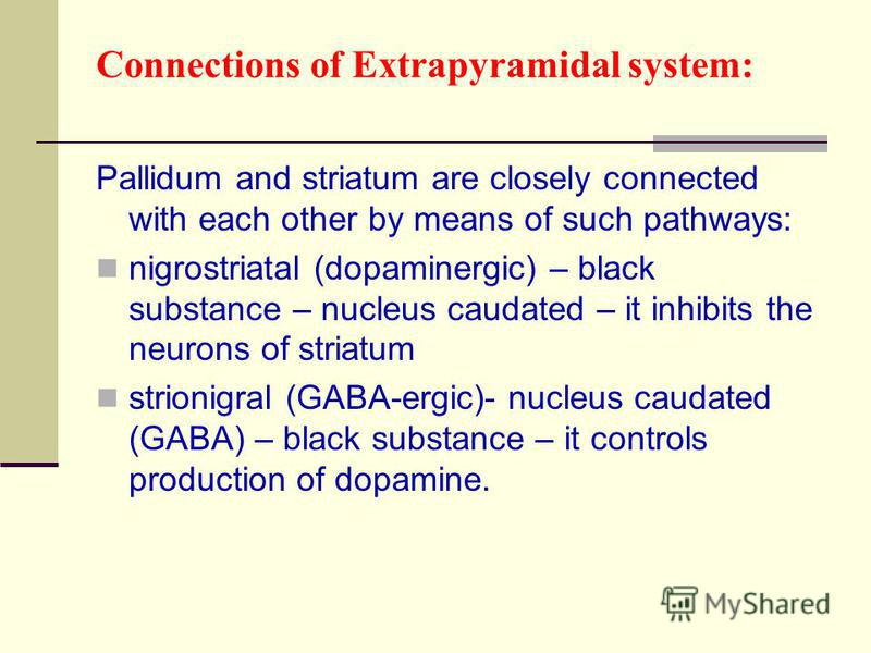 Connections of Extrapyramidal system: Pallidum and striatum are closely connected with each other by means of such pathways: nigrostriatal (dopaminergic) – black substance – nucleus caudated – it inhibits the neurons of striatum strionigral (GABA-erg