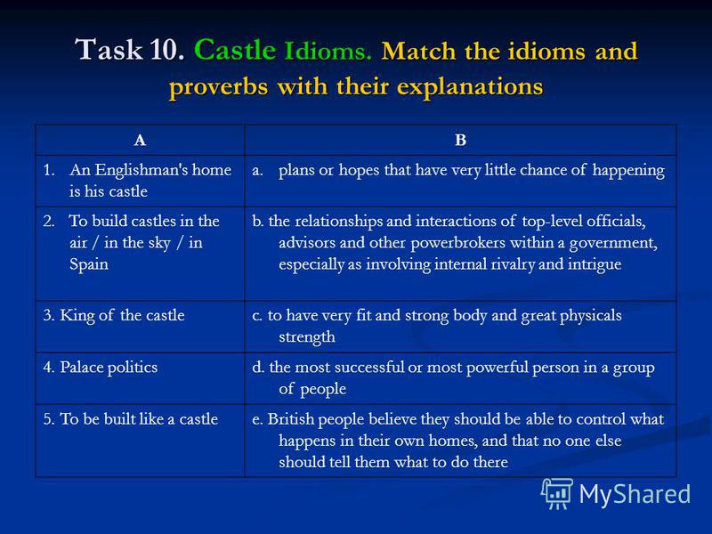 Task 10. Castle Idioms. Match the idioms and proverbs with their explanations AB 1.An Englishman's home is his castle a.plans or hopes that have very little chance of happening 2. To build castles in the air / in the sky / in Spain b. the relationshi