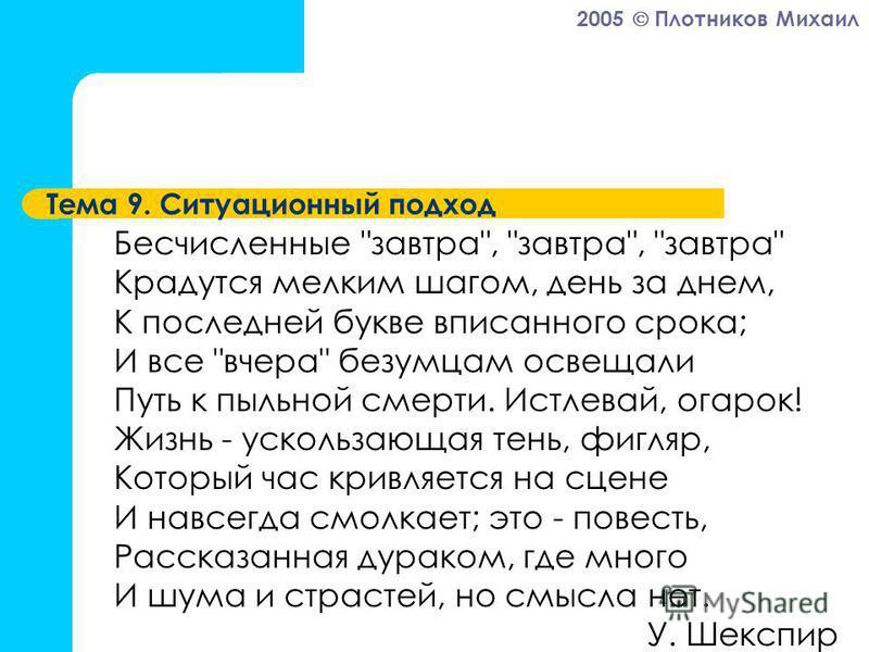 2005 Плотников Михаил Тема 9. Ситуационный подход Бесчисленные