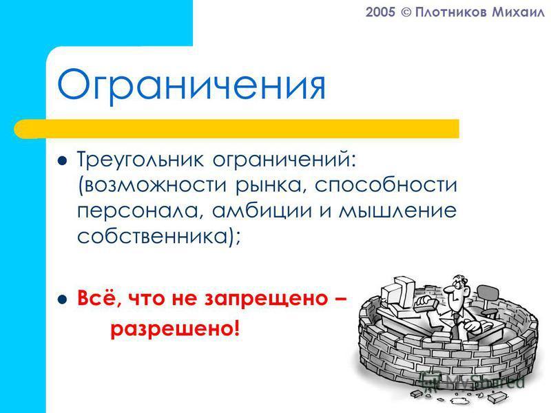 2005 Плотников Михаил Ограничения Треугольник ограничений: (возможности рынка, способности персонала, амбиции и мышление собственника); Всё, что не запрещено – разрешено!