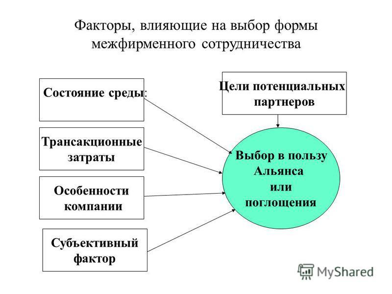 Факторы, влияющие на выбор формы межфирменного сотрудничества Выбор в пользу Альянса или поглощения Состояние среды: Субъективный фактор Особенности компании Трансакционные затраты Цели потенциальных партнеров