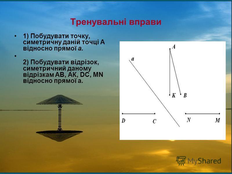 Тренувальні вправи 1) Побудувати точку, симетричну даній точці А відносно прямої а. 2) Побудувати відрізок, симетричний даному відрізкам АВ, АК, DС, MN відносно прямої а.