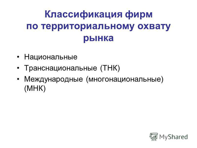 Классификация фирм по территориальному охвату рынка Национальные Транснациональные (ТНК) Международные (многонациональные) (МНК)
