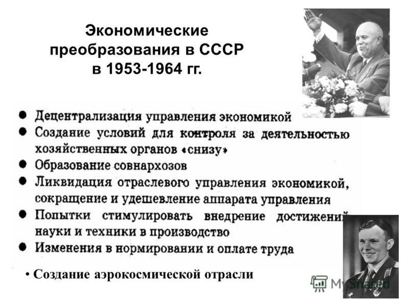 Экономические преобразования в СССР в 1953-1964 гг. Создание аэрокосмической отрасли