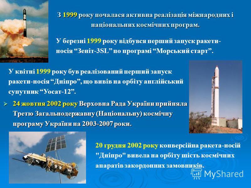 З 1999 року почалася активна реалізація міжнародних і національних космічних програм. 24 жовтня 2002 року Верховна Рада України прийняла Третю Загальнодержавну (Національну) космічну програму України на 2003-2007 роки. 24 жовтня 2002 року Верховна Ра