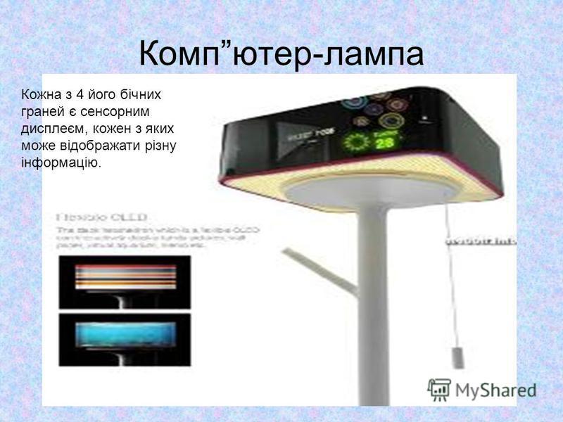 Компютер-лампа Кожна з 4 його бічних граней є сенсорним дисплеєм, кожен з яких може відображати різну інформацію.