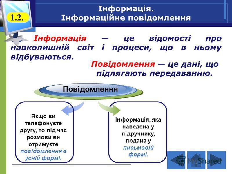 Інформація. Інформаційне повідомлення Інформація це відомості про навколишній світ і процеси, що в ньому відбуваються. Повідомлення Якщо ви телефонуєте другу, то під час розмови ви отримуєте повідомлення в усній формі. Інформація, яка наведена у підр