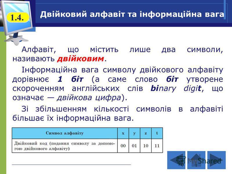 Двійковий алфавіт та інформаційна вага Алфавіт, що містить лише два символи, називають двійковим. Інформаційна вага символу двійкового алфавіту дорівнює 1 біт (а саме слово біт утворене скороченням англійських слів binary digit, що означає двійкова ц