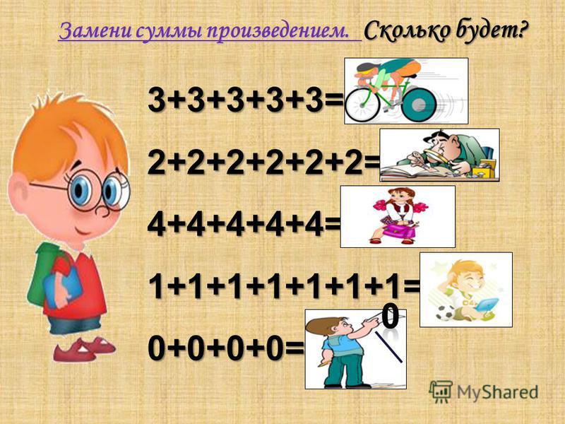 Замени суммы произведением. Сколько будет? 3+3+3+3+3=3·5=15 2+2+2+2+2+2=2·6=12 4+4+4+4+4=4·5=20 1+1+1+1+1+1+1=1·7=7 0+0+0+0=0·4=4