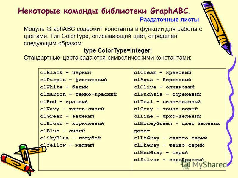 Некоторые команды библиотеки GraphABC. Раздаточные листы Модуль GraphABC содержит константы и функции для работы с цветами. Тип ColorType, описывающий цвет, определен следующим образом: type ColorType=integer; Стандартные цвета задаются символическим