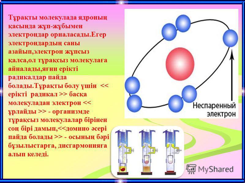 Тұрақты молекулада ядроның қасында жұп-жұбымен электрондар орналасады.Егер электрондардың саны азайып,электрон жұпсыз қалса,ол тұрақсыз молекулаға айналады,яғни ерікті радикалдар пайда болады.Тұрақты болу үшін > басқа молекуладан электрон > - организ