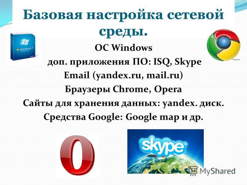 Базовые настройки ПК Русификатор, файловый менеджер, антивирус Касперского, архиватор Win Zip, Win Rar, приложения (в т. ч. офисные) MS Office, графические, мультимедиа.