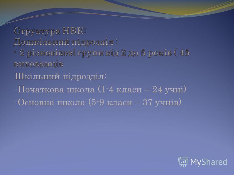 Шкільний підрозділ: - Початкова школа (1-4 класи – 24 учні) - Основна школа (5-9 класи – 37 учнів)