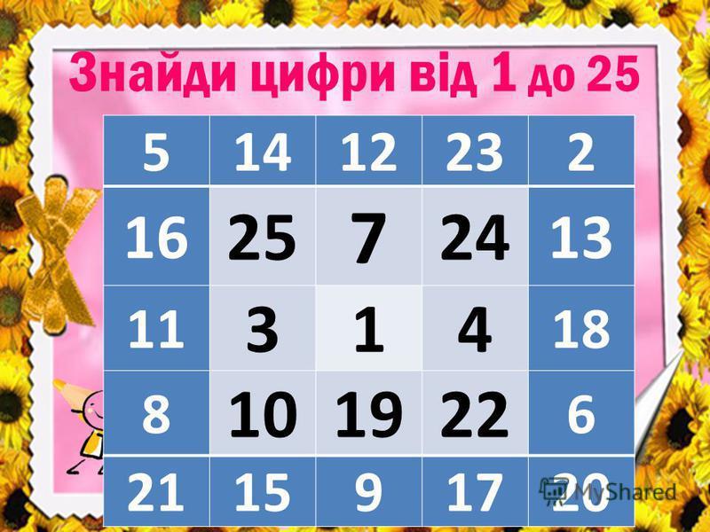 Знайди цифри від 1 до 25 51412232 16 25 7 24 13 11 314 18 8 101922 6 211591720