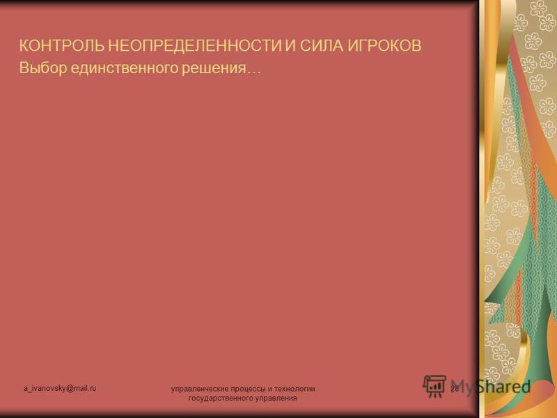a_ivanovsky@mail.ru управленческие процессы и технологии государственного управления 28 КОНТРОЛЬ НЕОПРЕДЕЛЕННОСТИ И СИЛА ИГРОКОВ Выбор единственного решения…