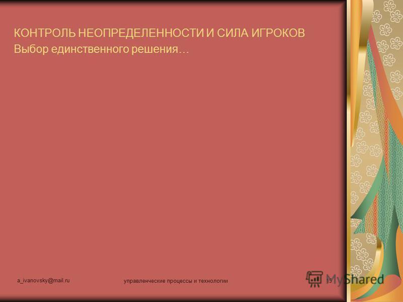 a_ivanovsky@mail.ru управленческие процессы и технологии 15 КОНТРОЛЬ НЕОПРЕДЕЛЕННОСТИ И СИЛА ИГРОКОВ Выбор единственного решения…