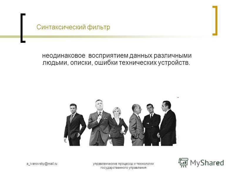 a_ivanovsky@mail.ruуправленческие процессы и технологии государственного управления 16 Синтаксический фильтр неодинаковое восприятием данных различными людьми, описки, ошибки технических устройств.