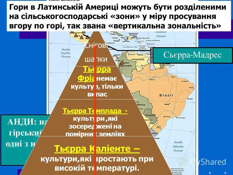 Сьєрра-Мадрес АНДИ: найдовший гірський ланцюг ; одні з найвищих гір у світі! Гори в Латинській Америці можуть бути розділеними на сільськогосподарські «зони» у міру просування вгору по горі, так звана «вертикальна зональність» Тьєрра Каліенте – культ
