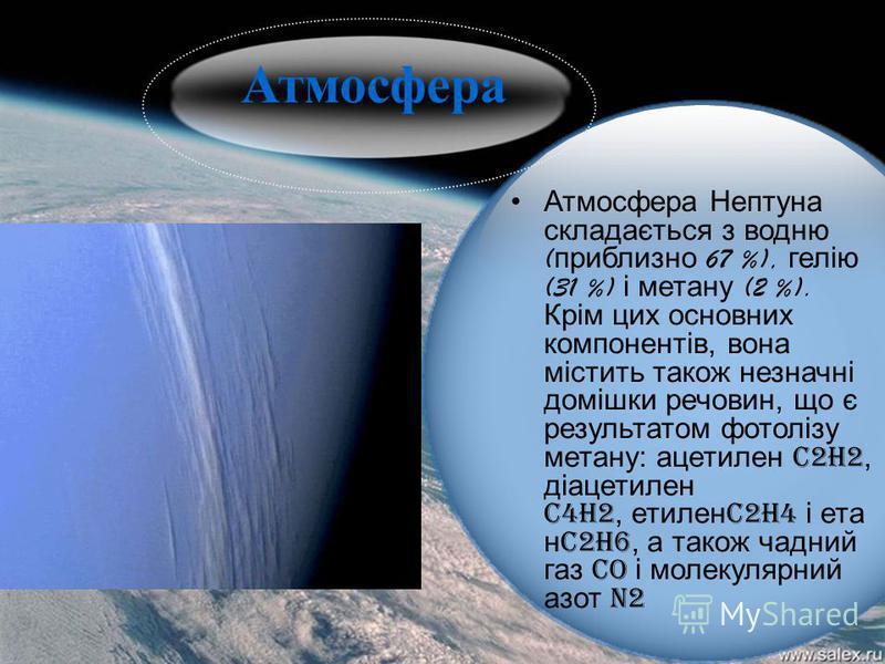 Атмосфера Нептуна складається з водню ( приблизно 67 %), гелію (31 %) і метану (2 %). Крім цих основних компонентів, вона містить також незначні домішки речовин, що є результатом фотолізу метану: ацетилен C2H2, діацетилен C4H2, етилен C2H4 і ета н C2