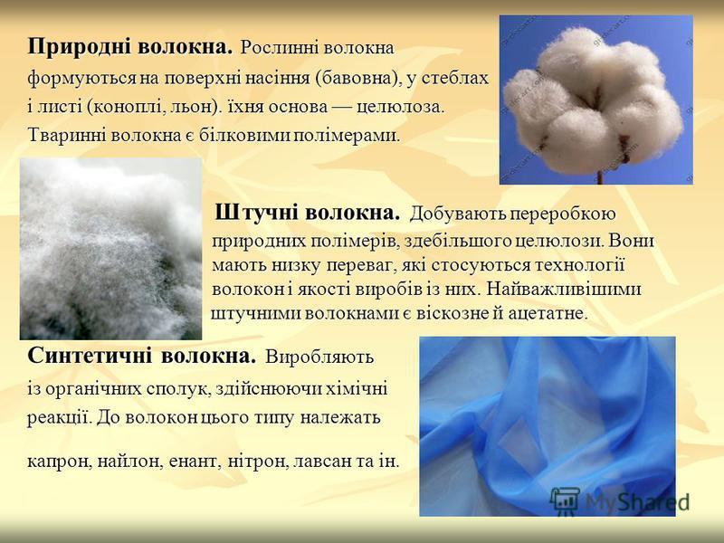 Природні волокна. Рослинні волокна формуються на поверхні насіння (бавовна), у стеблах і листі (коноплі, льон). їхня основа целюлоза. Тваринні волокна є білковими полімерами. Штучні волокна. Добувають переробкою природних полімерів, здебільшого целюл