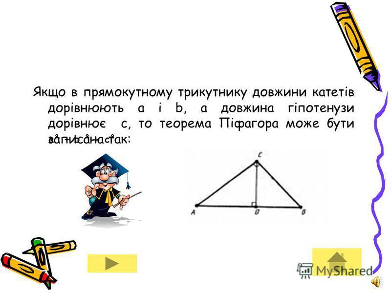 Поїхали далі Застосувавши, раніше вивчену теорему про метричні співвідношення у прямокутному трикутнику, отримуємо: AC²= AD * AB BC ²= DB * AB Звідси AC² + BC ²= AD*AB + DB*AB. Далі, AC² + BC ²= AB (AD + DB) = AB²