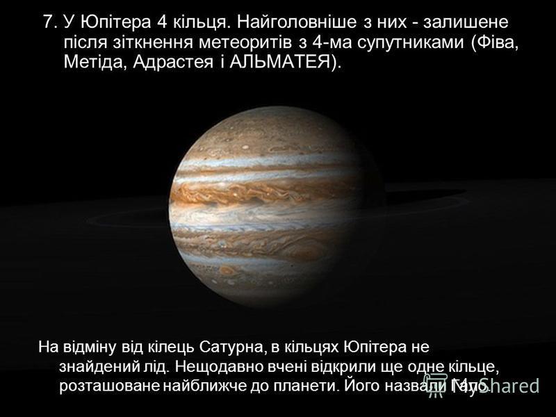 На відміну від кілець Сатурна, в кільцях Юпітера не знайдений лід. Нещодавно вчені відкрили ще одне кільце, розташоване найближче до планети. Його назвали Гало. 7. У Юпітера 4 кільця. Найголовніше з них - залишене після зіткнення метеоритів з 4-ма су