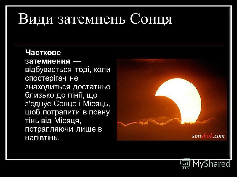 Види затемнень Сонця Часткове затемнення відбувається тоді, коли спостерігач не знаходиться достатньо близько до лінії, що з'єднує Сонце i Місяць, щоб потрапити в повну тінь від Місяця, потрапляючи лише в напівтінь.