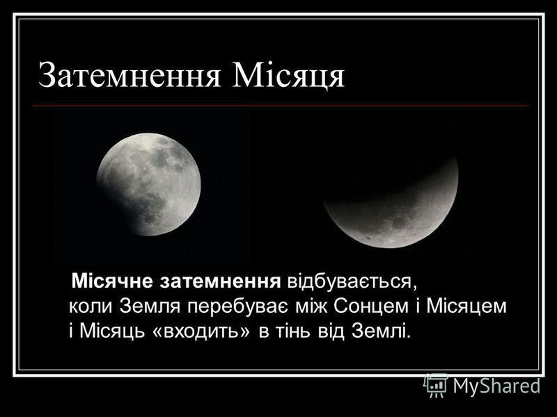 Затемнення Місяця Місячне затемнення відбувається, коли Земля перебуває між Сонцем і Місяцем і Місяць «входить» в тінь від Землі.